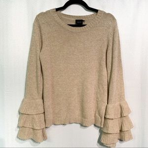 Cliche Tiered Bell Sleeve Wool Blend Sweater XS